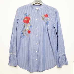 Loft Striped Button Up Embroidered Bell Sl…